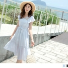 《DA7890-》唯美輕甜透紗蕾絲渡假感仙女洋裝 OB嚴選