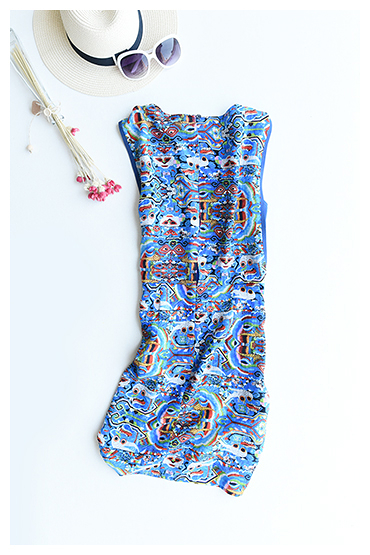 [超豐國際]Z 民間藝術圖案~~真絲雙縐 無袖連衣裙 F70