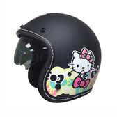 【東門城】華泰 K806S KT020(雙鏡) hello kitty 平黑 復古帽