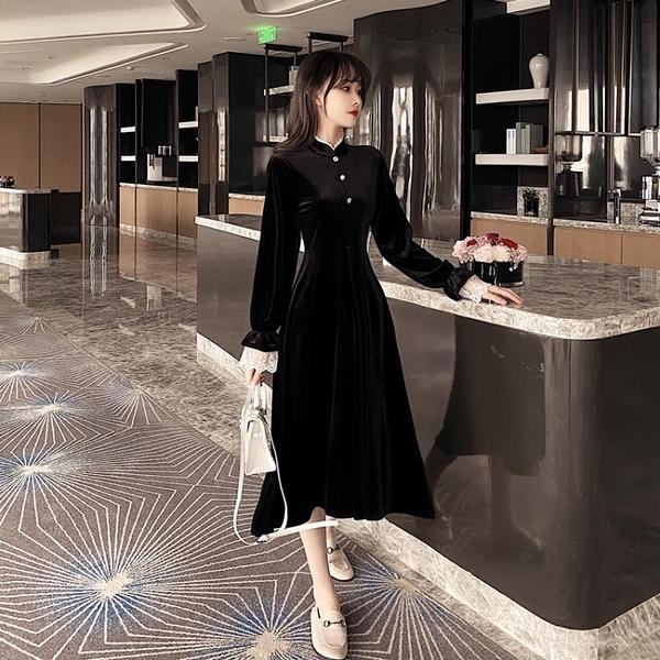 立領洋裝 大碼女裝早秋新款復古氣質溫婉黑色顯瘦絲絨中長款洋裝子-年終穿搭new Year