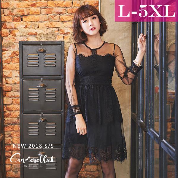 大碼仙杜拉-網紗拼接蕾絲蛋糕裙洋裝/洋裝 L-5XL碼 ❤【WM283】(預購)