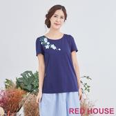 【RED HOUSE 蕾赫斯】清爽花朵長版T恤上衣(藍色)