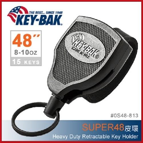 美國KEY BAK SUPER48 Heavy Duty 36伸縮鑰匙圈(皮環款)#0S48-813【AH31067】JC雜貨