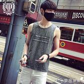 夏季潮寬鬆印花背心男 青年運動速幹圓領無袖t恤男士打底汗衫      麥吉良品