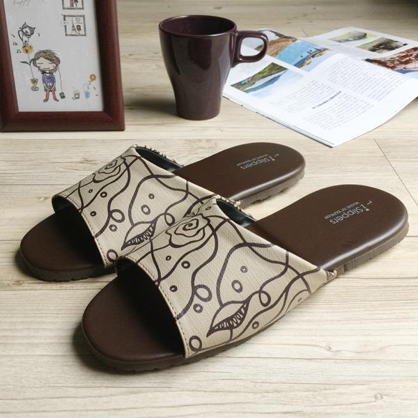 台灣製造-經典系列-室內拖鞋-橡膠鞋底-皮拖 - 花漾- 米