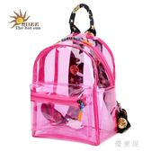 新款PVC女包透明塑料布後背包 雙肩包糖果色防水學生大容量 BT10286『優童屋』