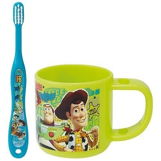 小禮堂 迪士尼 玩具總動員 兒童牙刷杯組 附牙刷蓋 漱口杯 3-5歲適用 (綠藍 格圖) 4973307-46765