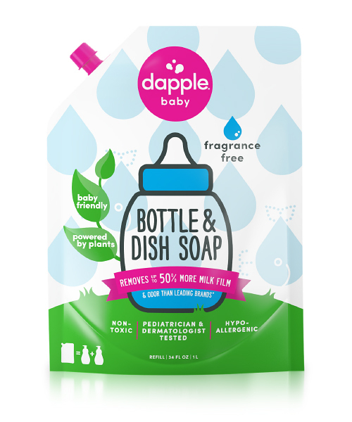 【愛吾兒】美國 dapple 奶瓶及餐具清潔液-無香精(1L)補充包 美國原裝進口