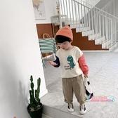 兒童上衣男 男童秋裝上衣2019春秋新款寶寶拼接印花套頭衫兒童打底衫潮 2色