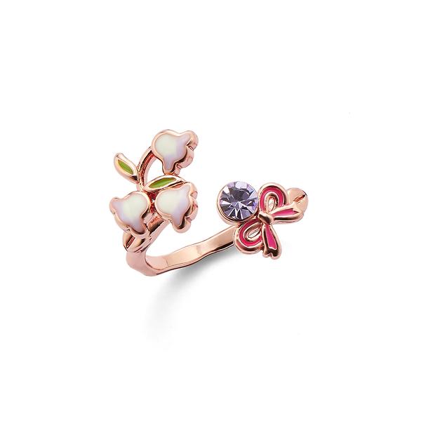 【正韓】P.Y 山丘上的小鈴蘭蝴蝶結戒指 16K玫瑰金