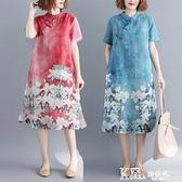 棉麻洋裝 夏季民族風復古盤扣印花棉麻短袖洋裝寬鬆顯瘦中式改良旗袍裙子