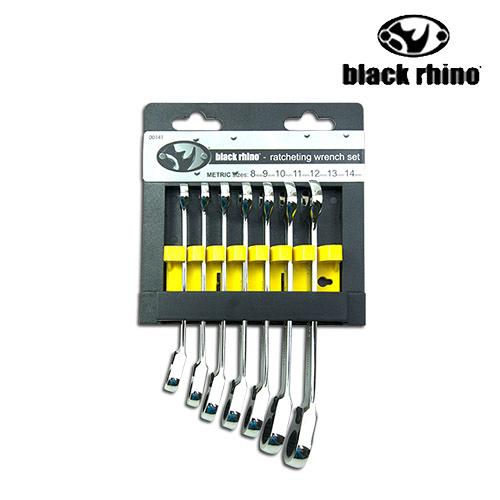 LIKA夢 美國黑犀牛Black Rhino專業手工具 台灣製造 公制雙向梅花棘輪板手 兩用固定扳手7pcs套件組 #141