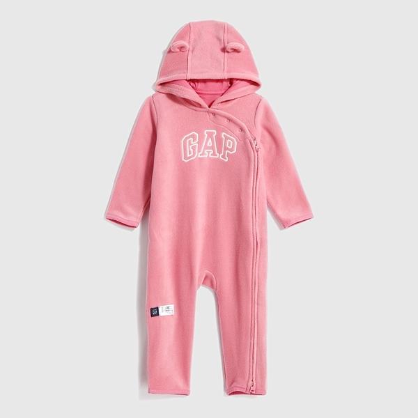 Gap嬰兒 LOGO搖粒絨可愛一體式包屁衣 593674-淡粉色