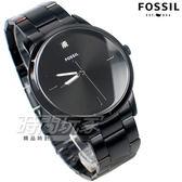 FOSSIL 雅痞風範 鑲鑽 都會腕錶 薄型 不銹鋼 IP黑電鍍 男錶 中性錶 防水手錶 黑色 FS5455