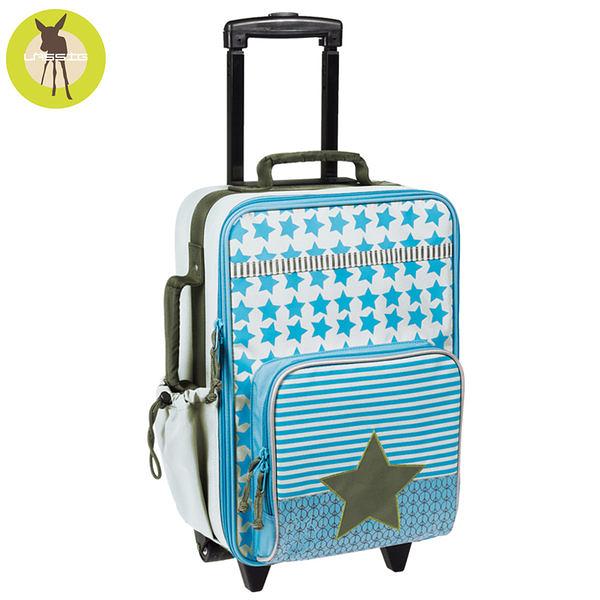德國Lassig天空星星兒童拉桿行李箱-天空藍