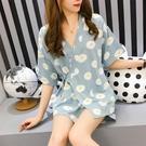 中大尺碼浴袍 日式和服女夏季短袖韓版清新學生薄款家居服兩件套裝 FR7866『俏美人大尺碼』
