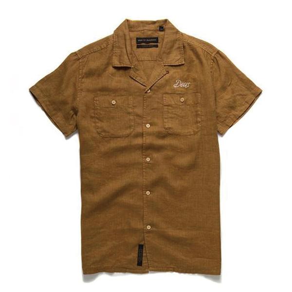 Deus Ex Machina Dean Linen Ss Shirtt 短袖襯衫-黃 (男)