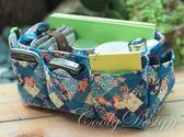 多格層收納包包中包 藍色日式風