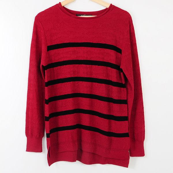 【MASTINA】基本款紅底黑條薄針織-紅 冬末好康