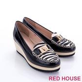 RED HOUSE-蕾赫斯-金屬豹頭動物紋楔型鞋(共2色)