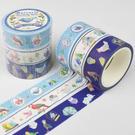 Kamio 仿刺繡紙膠帶 3入 手帳貼 裝飾貼 動物系列 小鳥 藍_KM22592