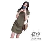 EASON SHOP(GU9736)韓版撞色條紋拼接POLO領短袖針織連身裙洋裝女上衣服彈力貼身短裙修顯腿長膝上裙