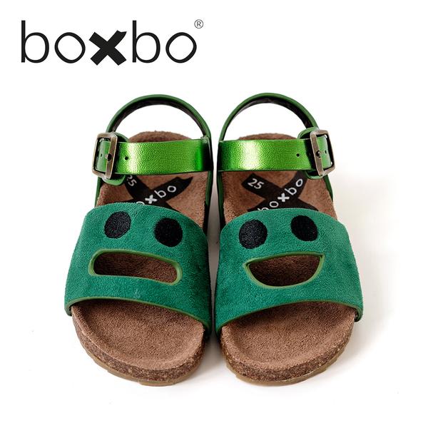 BOXBO 法國 兒童涼鞋-我愛笑瞇瞇-絲絨綠(大童款30-37)