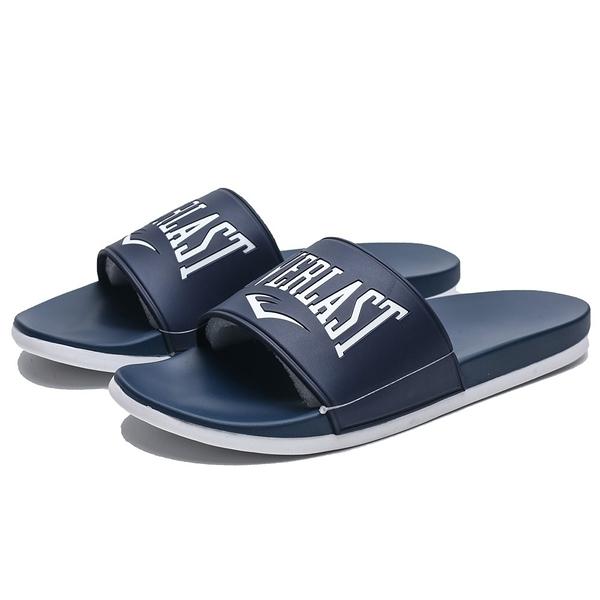 EVERLAST 深藍色 白字LOGO 運動拖 拖鞋 情侶鞋 男女 (布魯克林) 4925220280