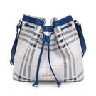 PLAYBOY-  抽繩水桶包 風韻兔格系列 -藍色