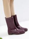雨牧高分子材質雨靴防滑加絨保暖水鞋水靴防水膠鞋成人中筒女雨鞋 快速出貨