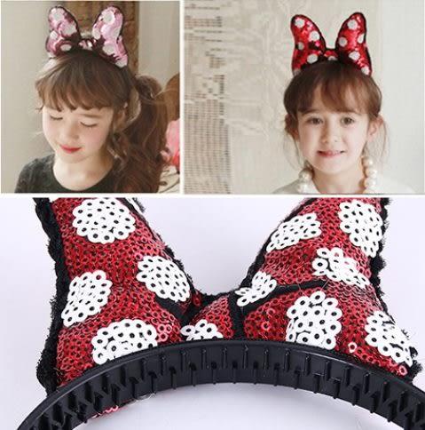 預購-兒童髮飾品 亮片大蝴蝶結頭飾髮箍