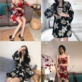 復古風花朵印花日式睡袍外套 修身吊帶裙睡衣兩件套裝性感居家服『伊莎公主』