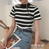 夏季復古斜拉鍊打底衫短款上衣修身氣質針織短袖T恤女裝 可可鞋櫃