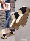 增高拖鞋外穿女士夏季一字拖時尚百搭鬆糕底坡跟女厚底涼拖鞋  凱斯盾數位3C