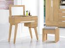 【森可家居】梅克爾2.7尺掀式鏡台(含椅) 7ZX140-5 化妝台 梳妝台 木紋質感 無印風 北歐風