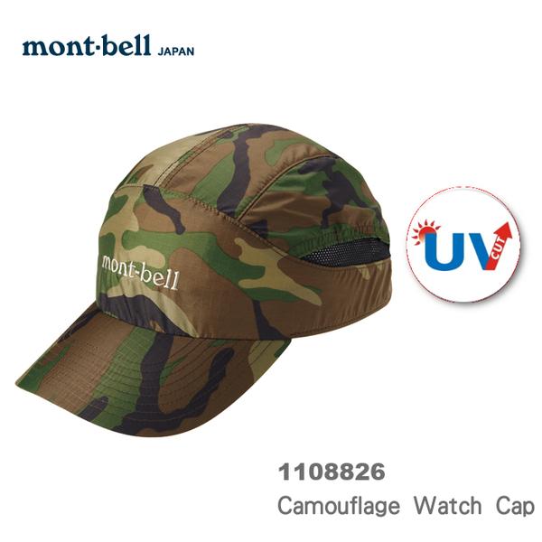 【速捷戶外】日本mont-bell 1108826 Camouflage Watch Cap 抗UV棒球帽-中性(迷彩) , 登山帽,防曬帽,montbell