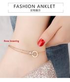 玫瑰金雙環鈦鋼腳鍊女不掉色韓版簡約性感學生腳踝鍊森繫足鍊飾品