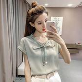 雪紡衫短袖女夏2018新款韓版時尚百搭v領上衣LJ3363『miss洛羽』
