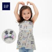 Gap女嬰幼童 童趣印花小飛袖套頭無袖上衣 461341-童趣多彩