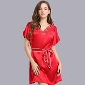 睡衣-真絲裙裝短袖性感蕾絲V領舒適女居家服3色73nq41【時尚巴黎】
