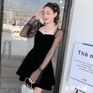 網紗袖金絲絨蓬蓬裙春季新款方領小女人復古喇叭袖禮服公主裙