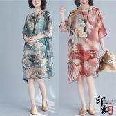 微胖大尺碼女寬鬆中國風水墨印花不規則雪紡飄逸短袖連身裙【萬聖節推薦】