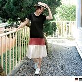 《DA7700-》高含棉舒適異材質拼接配色一件式休閒長洋裝 OB嚴選