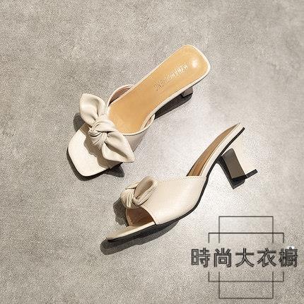 一字拖鞋蝴蝶結高跟拖鞋 魚嘴中跟韓版涼拖涼鞋夏季【時尚大衣櫥】
