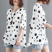 夏季新款大碼女裝顯瘦棉麻圓波點T恤衫200斤胖mm百搭減齡上衣顯瘦