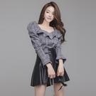 歐媛韓版 女神範套裝 韓版名媛泡泡袖 荷葉邊襯衫上衣高腰PU皮短裙兩件套洋裝
