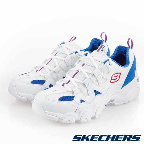 SKECHERS DLITES 2 男鞋 休閒 老爹鞋 復古 快穿拉環 記憶型泡棉 吳尊 白 藍【運動世界】52690WBRD