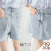 褲裙 抽鬚刷破腰帶造型牛仔短褲M-XL號-BAi白媽媽【190662】