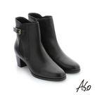 A.S.O 心機美靴 牛皮金屬飾釦中筒靴 黑