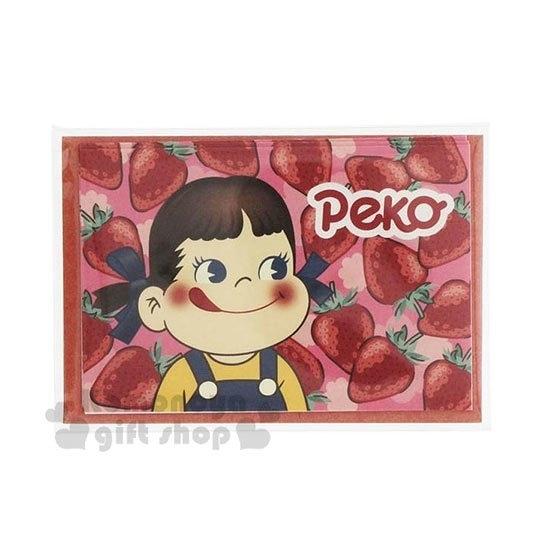 〔小禮堂〕不二家PEKO 日製迷你卡片信封組《紅粉.草莓》留言卡.賀卡.小卡片 4901770-57627